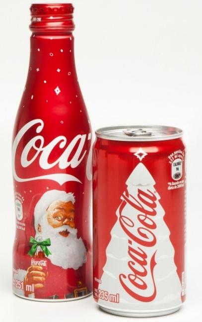 Las botellas y latas de coca cola se redise an en navidad - Un santa claus especial ...