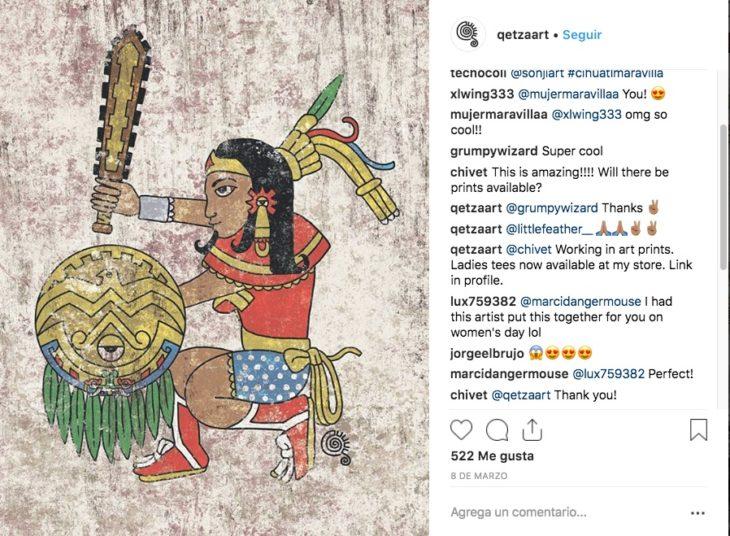 El ilustrador Qetza retoma personajes de cómics y los transforma en Dioses Aztecas con las características toscas que los definen en los códices.