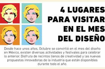 Existen distintos Eventos de Octubre Mes del Diseño, a los cuales puedes asistir, sin embargo estas recomendaciones las puedes visitar todo el año.
