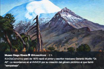 Las obras de arte de Gerardo Murillo, mejor conocido como Dr. Atl son identificadas por sus pinturas de volcanes y los valles de México.
