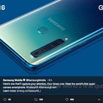 El lanzamiento del Samsung Galaxy A9 con 4 cámaras traseras y una frontal, nos sorprendió a todos junto con sus colores disponibles.