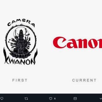 """El logotipo de Canon surgió como una representación de Kwan Yin, la diosa diosa budista de la misericordia, y la marca se llamaba """"Kwanon""""."""