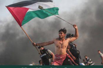 La fotografía de un joven palestino que sostiene una bandera y una honda causó furor en redes sociales por su similitud con una obra de arte clásica.