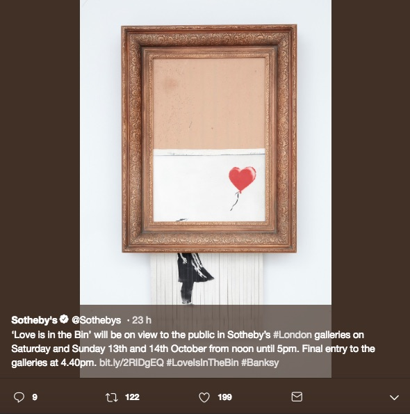 La obra triturada de Banksy fue rebautizada por el propio artista, y la compradora de la subasta la conservará tal cual; además se expondrá en Londres.
