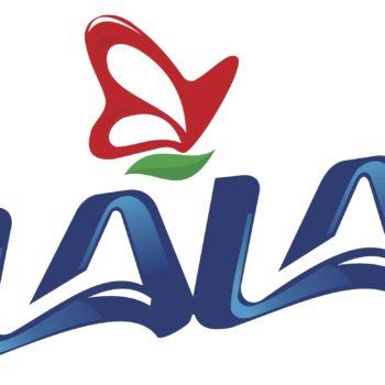 El logo de LALA consiste en una tipografía color azul que en realidad es un acortamiento del nombre completo de la empresa.