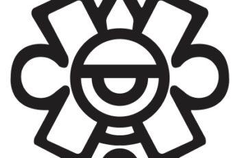 El logotipo del INAH representa el décimo séptimo día, el de Ollin. Está retomado del glifo principal del calendario azteca.