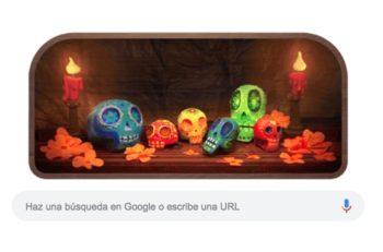 El Doodle de Google es un altar de Muertos que muestra calaveritas que simulan ser las letras del logotipo del gigante tecnológico.