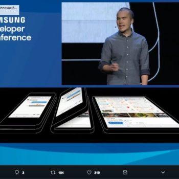 Samsung presentó un prototipo de un celular plegable que convierte un smartphone en una tablet, el diseño nos recuerda a los celulares de los 90s.