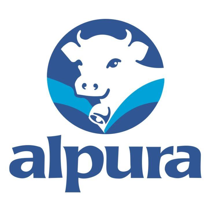 Logo de Alpura de una vaca con una margarita a la natural y confiable