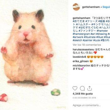 El artista japonés Gotte realiza ilustraciones de su hámster en situaciones diarias, además de algunas que imagina hace su mascota cuando no lo ve.
