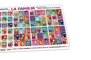 Esta lotería mexicana de la familia tiene tarjetas con individuos más cercanos al entorno de los niños como su abuelo, su escuela, incluso al policía.