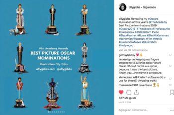 ¿Te imaginas las estatuillas de los Premios Oscar con los personajes de las películas nominadas? El ilustrador Olly Gibbs lo hizo posible.