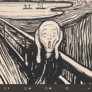 ¿Cómo que no está gritando? 😱 Por años se mal interpretó esta pintura, resulta que un análisis de El Grito de Edvard Munch reveló lo contrario ⬆️.
