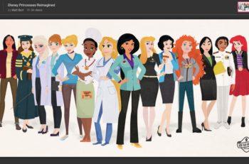 El artista gráfico Matt Burt reimaginó a las princesas de Disney como mujeres modernas con una carrera que impacte en la sociedad y en sus vidas.