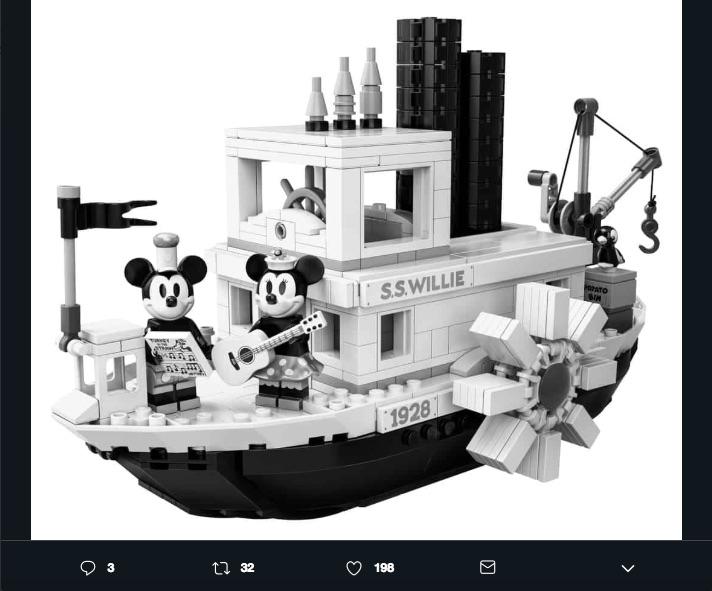 El set de Lego Steamboat Willie recrea completamente el modelo del cortometraje de Disney, en el que Mickey es musicalizado por primera vez.