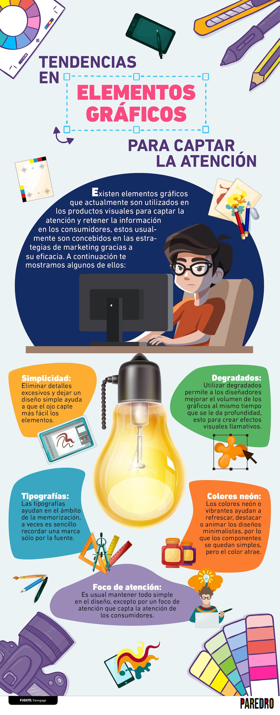 Existen elementos gráficos para captar la atención que son utilizados en los productos visuales para retener la información en los consumidores.