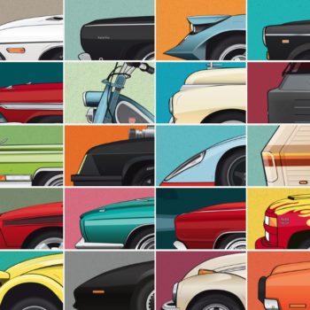 Cars and Films retoma casi 10 automóviles, motocicletas o camiones relevantes de películas y los transforma en pósters ilustrados.
