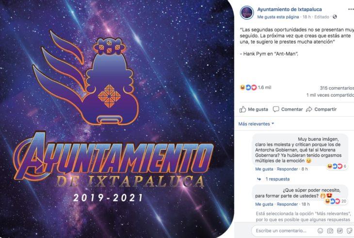 """El Ayuntamiento de Ixtapaluca (Edo.Méx) modificó su logotipo al estilo del póster de Avengers Endgame, con todo y la simbólica """"A""""."""