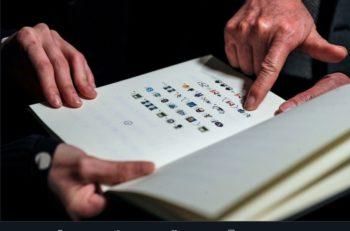 """""""Book from the Ground"""" es un libro de emojis y sin palabras que creó el artista Xu Bing con 8,000 caracteres que representan historias"""