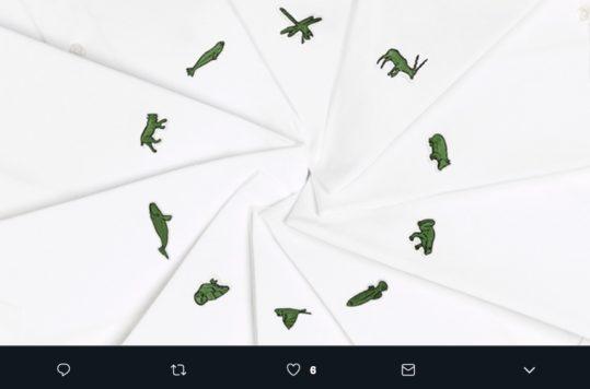 Por segundo año consecutivo Lacoste cambia su logotipo de cocodrilo para darle un espacio a animales en peligro de extinción. #LacosteSaveOurSpecies